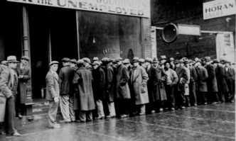 A Depression-Era Soup Line - Courtesy the National Archives