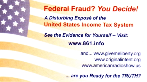 End Federal Fraud! Learn the Truth! - Cards Handed Out to Protesters